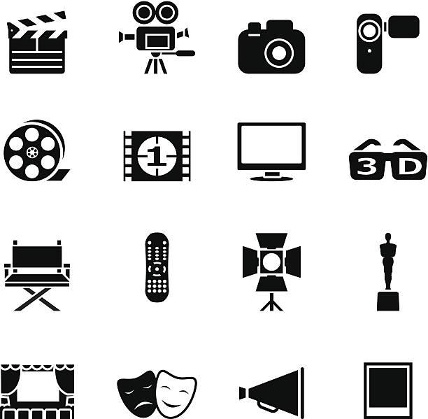 stockillustraties, clipart, cartoons en iconen met set of black movie icons - photography curtains