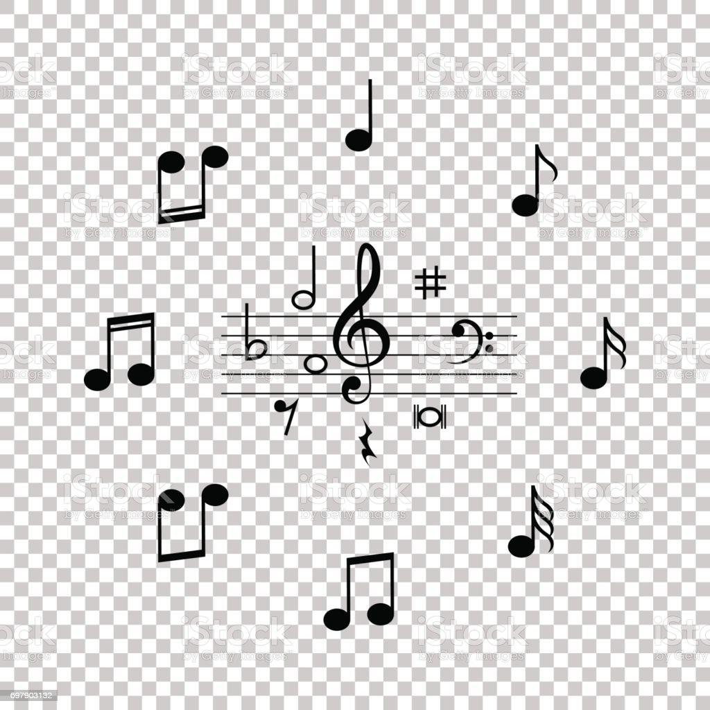 Satz Von Schwarz Musiksymbol Notizen Auf Transparenten Hintergrund ...