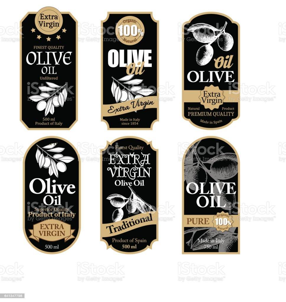 Set of black olive oil labels with hand drawn details - ilustração de arte vetorial