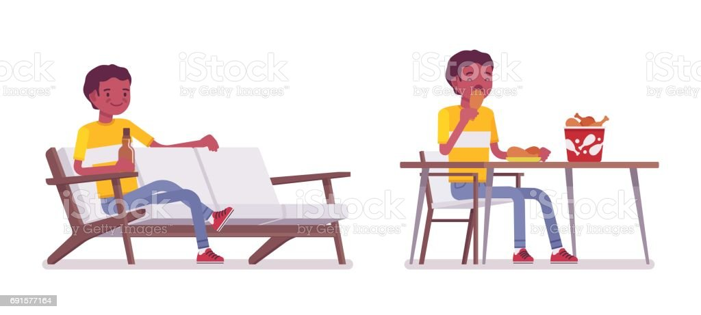 Set of black or african american young man eating and relaxing vector art illustration
