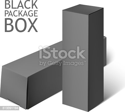 Download Set Of Black Package Box Mockup Template Stock Vector Art ...