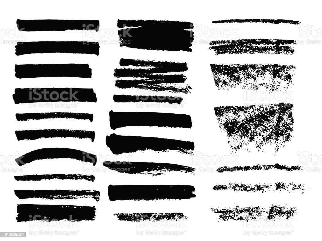 Line Art Brushes Photo : 검은 페인트 잉크 브러시 스트로크 브러쉬 라인의 집합입니다 더러운 예술적 디자인 요소입니다 명에 대한