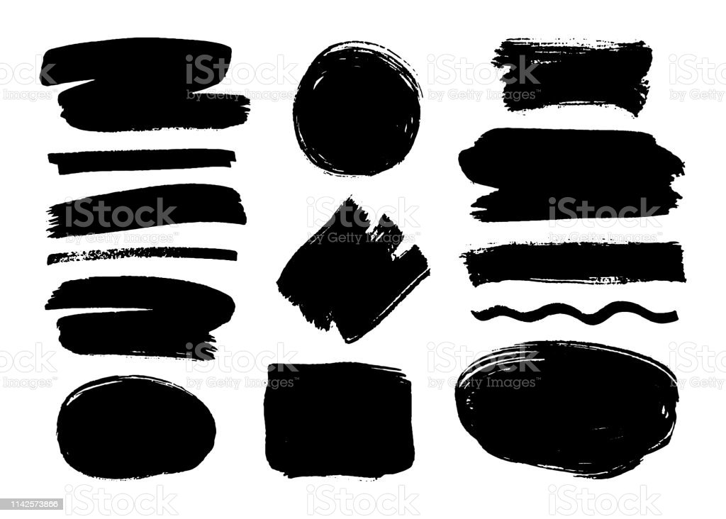 Set of black paint, ink brush strokes, brushes, lines. Dirty artistic...