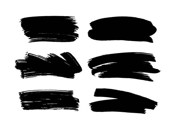 Set of black paint, ink brush strokes. Set of black paint, ink brush strokes. Graphic artistic design elements, boxes, frames for text. paintbrush stock illustrations