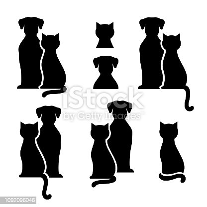Set of black isolated dog and cat silhouette on white background