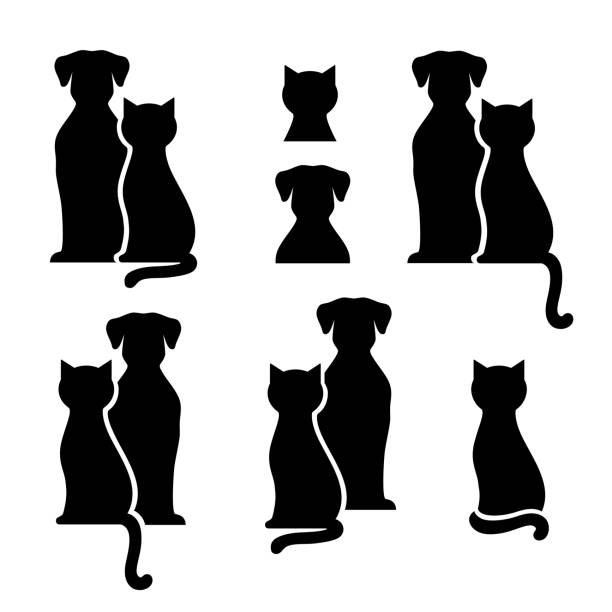 Set of black pets silhouettes Set of black isolated dog and cat silhouette on white background dog stock illustrations
