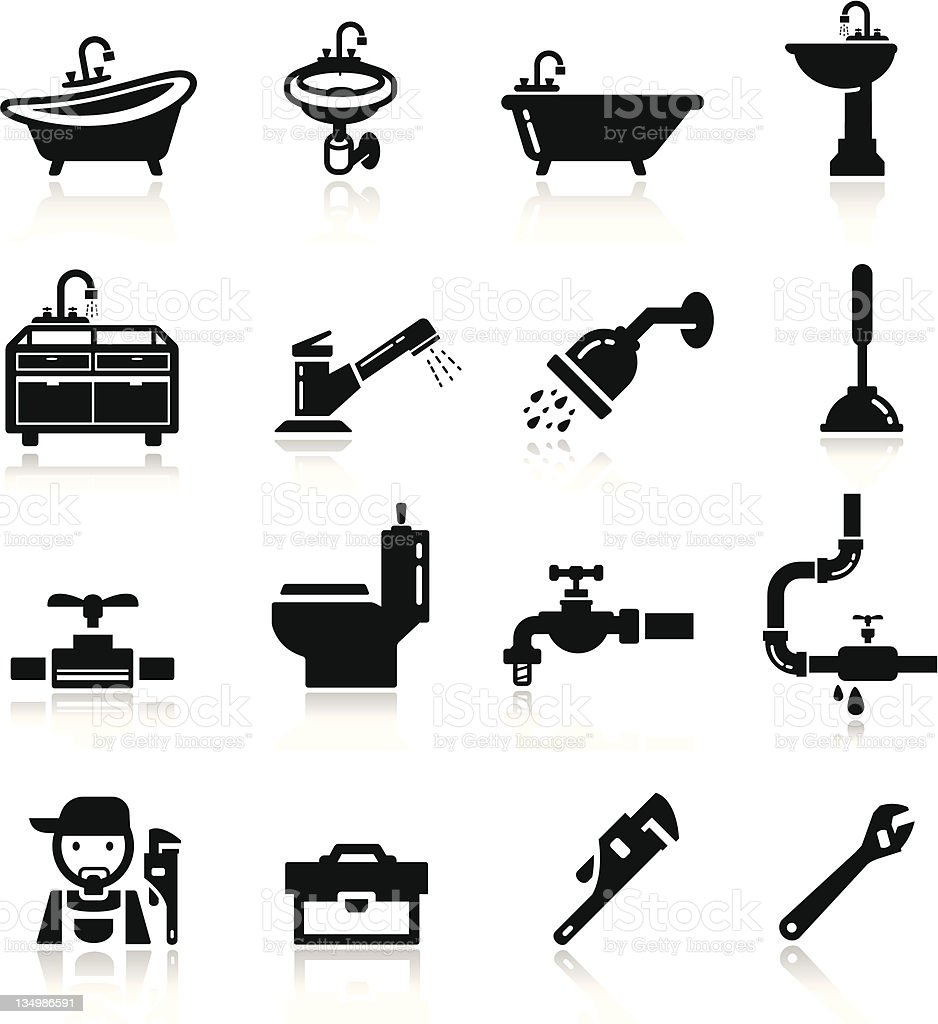 Set of black plumbing icons vector art illustration
