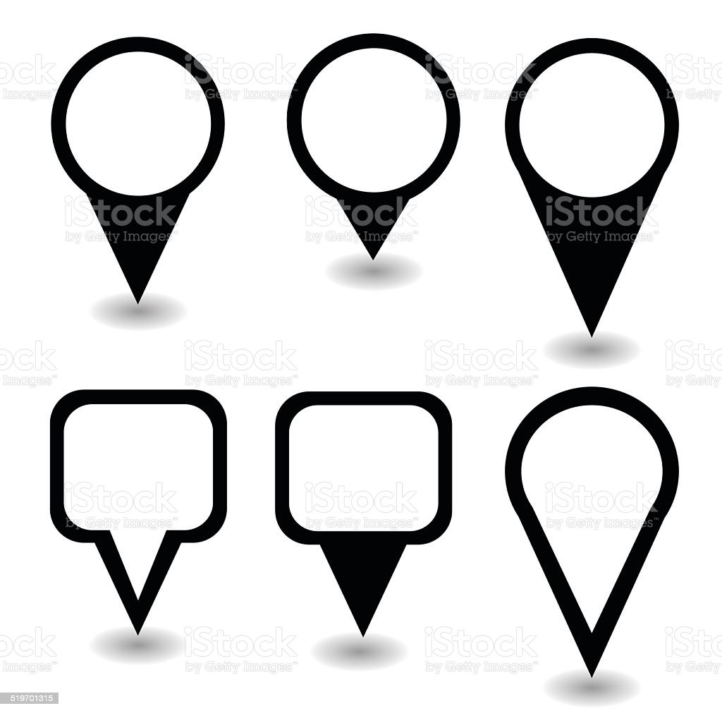 Set of black pointers and markers different shapes vector vector art illustration