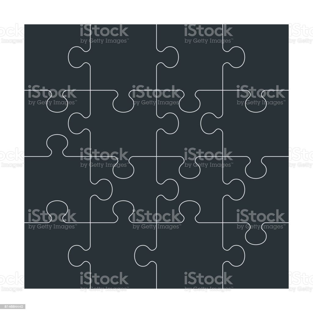 set of black puzzle vector art illustration