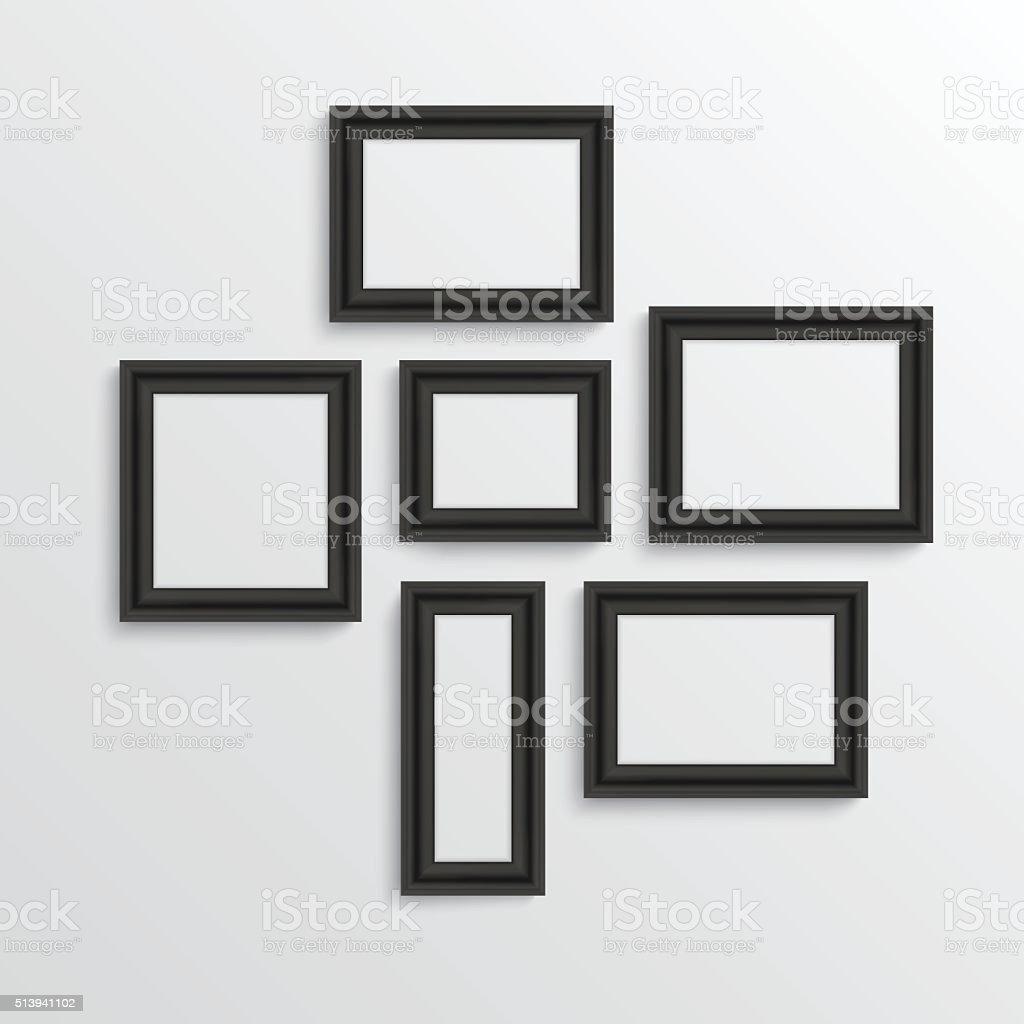 Ein Satz Von Schwarze Rechteckige Bilder Auf Weiße Wand Stock Vektor ...