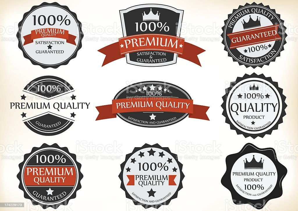Set of black red and white premium quality labels royalty-free stock vector art