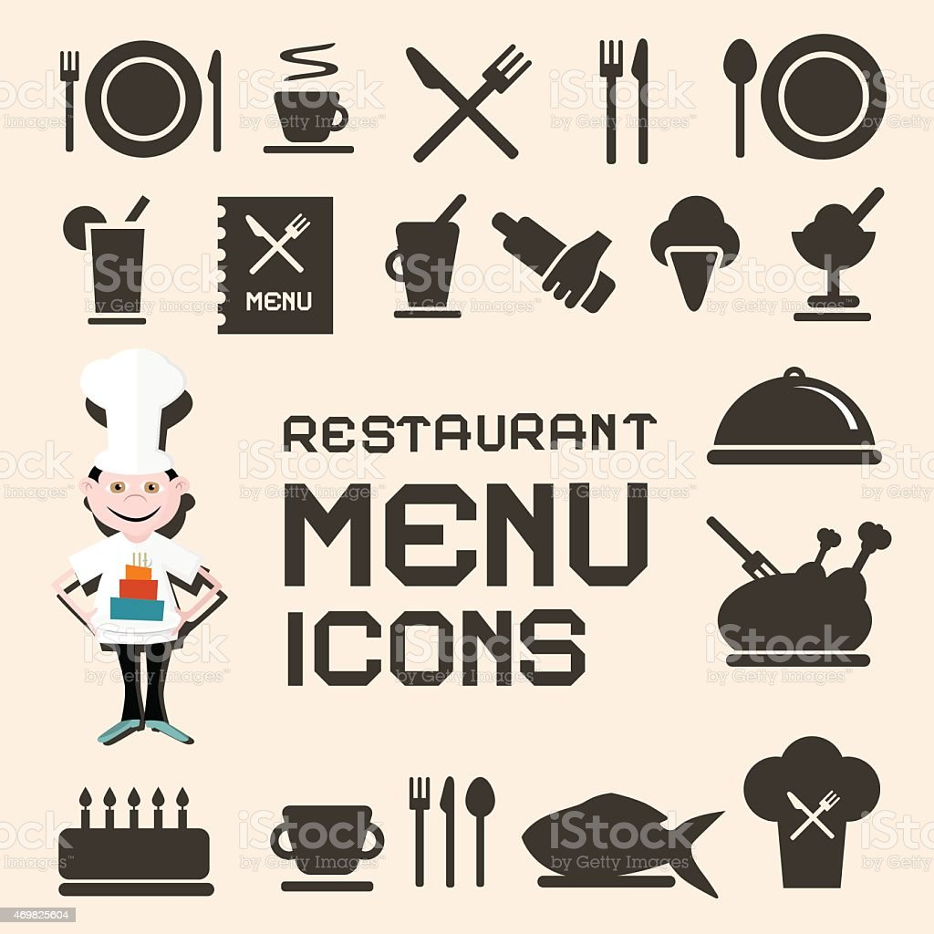 Set of black restaurant menu icons on beige background vector art illustration