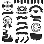 Set of Black ribbons, banners, badges and labels, isolated on a blank background. Elements for your design, with space for your text. Vector Illustration (EPS10, well layered and grouped). Easy to edit, manipulate, resize or colorize. Please do not hesitate to contact me if you have any questions, or need to customise the illustration. http://www.istockphoto.com/portfolio/bgblue