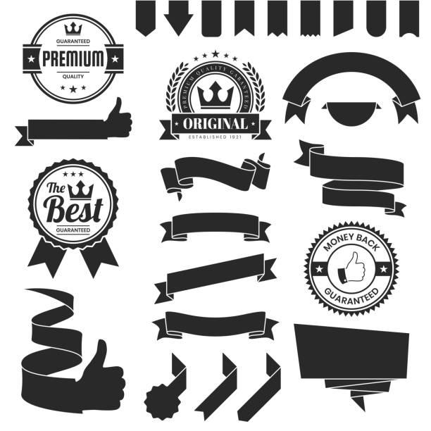 illustrations, cliparts, dessins animés et icônes de ensemble de rubans noirs, bannières, badges, étiquettes-éléments de conception sur fond blanc - badge drapeaux