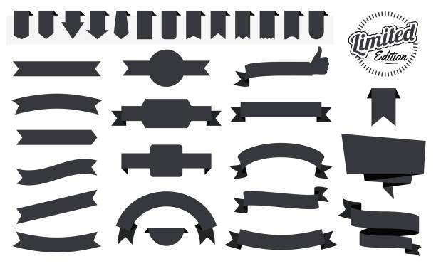Set of Black Ribbons, Banners, badges, Labels - Design Elements on white background vector art illustration