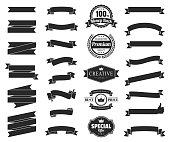 Set of Black ribbons, banners, badges and labels, isolated on a blank background. Elements for your design, with space for your text. Vector Illustration (EPS10, well layered and grouped). Easy to edit, manipulate, resize or colorize.