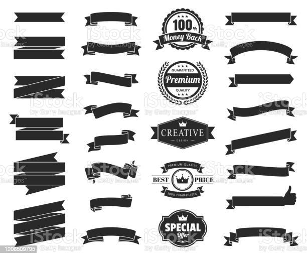 Set Of Black Ribbons Banners Badges Labels Design Elements On White Background Stock Illustration - Download Image Now