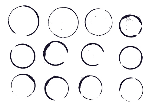 Set of black round stains and blots on white background. Vector illustration. Elemens for design.