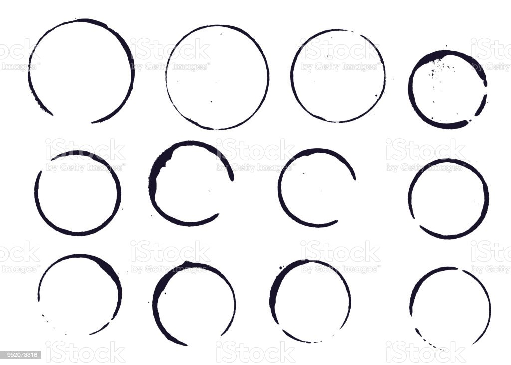 Set of black round stains and blots vector art illustration
