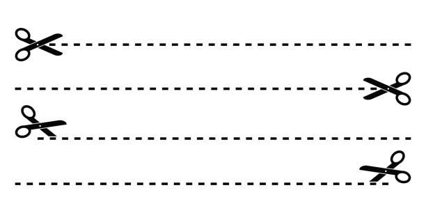 illustrazioni stock, clip art, cartoni animati e icone di tendenza di set of black scissors with cut lines vector isolated - tailor working