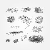 Set of black scribbles drawn by hand. Doodle, sketch, grunge. Thirteen abstract isolated elements. Vector illustration.