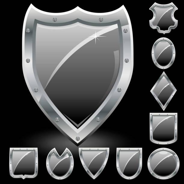 Set of Black shields vector art illustration