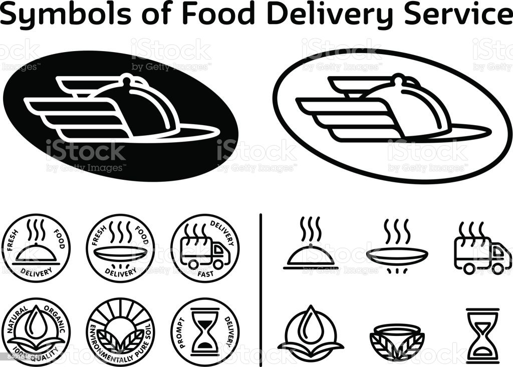 Set Of Black Signs Icons For Service Of Fast Delivery Ecologically