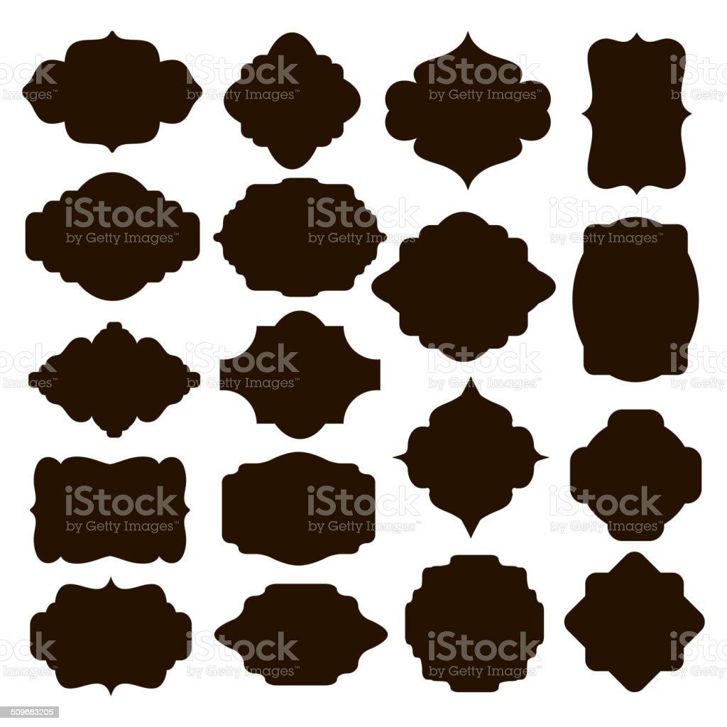 Set of black silhouette frames for badges vector art illustration