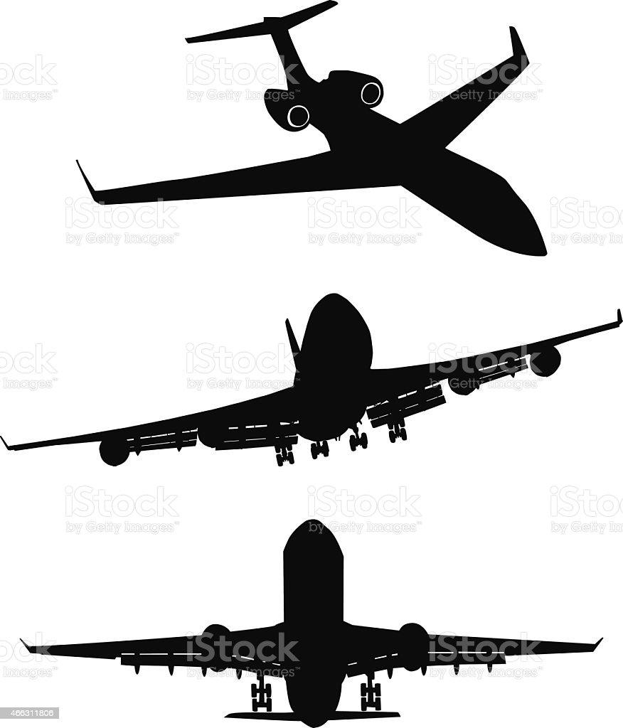 Set of black silhouette three airplanes vector art illustration