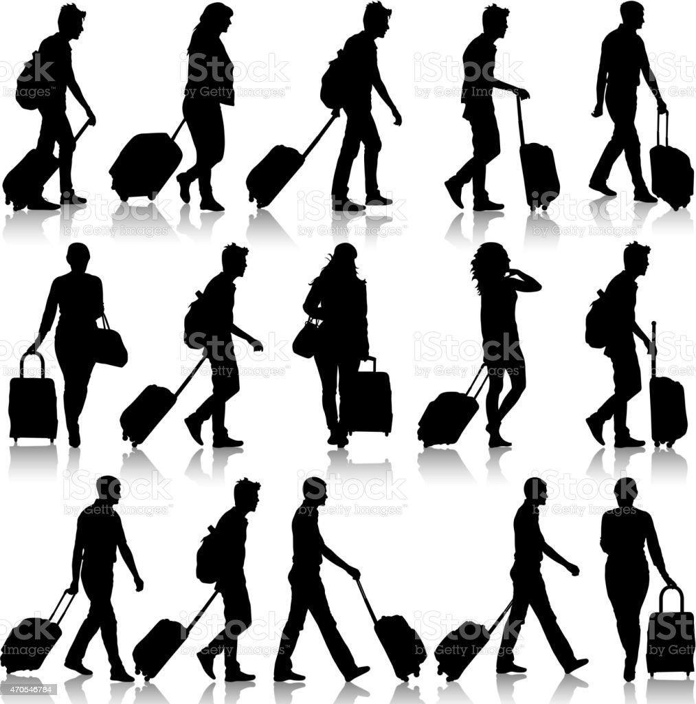 Set of black silhouette travelers with suitcases vector art illustration