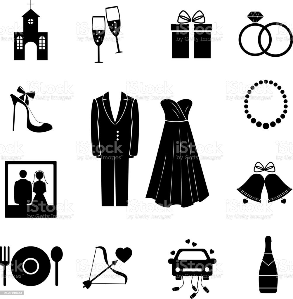 Set of black silhouette wedding icons vector art illustration