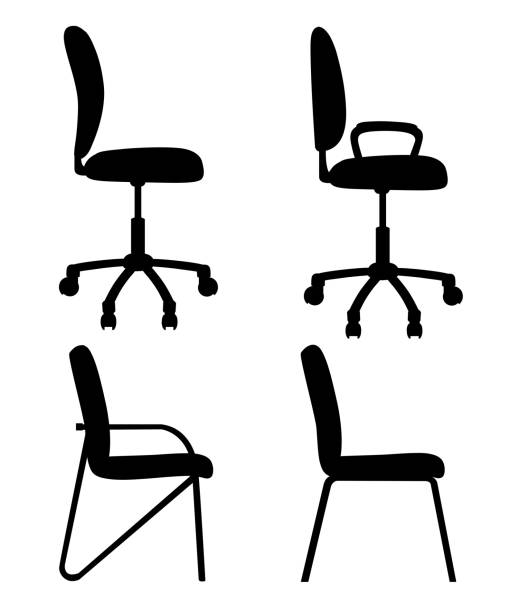 schwarze silhouetten stühle für büro und zuhause eine seite ansicht bürostühle mit griffen und ohne sie isoliert auf weißem hintergrund-website und mobile app-design-set - stuhllehnen stock-grafiken, -clipart, -cartoons und -symbole