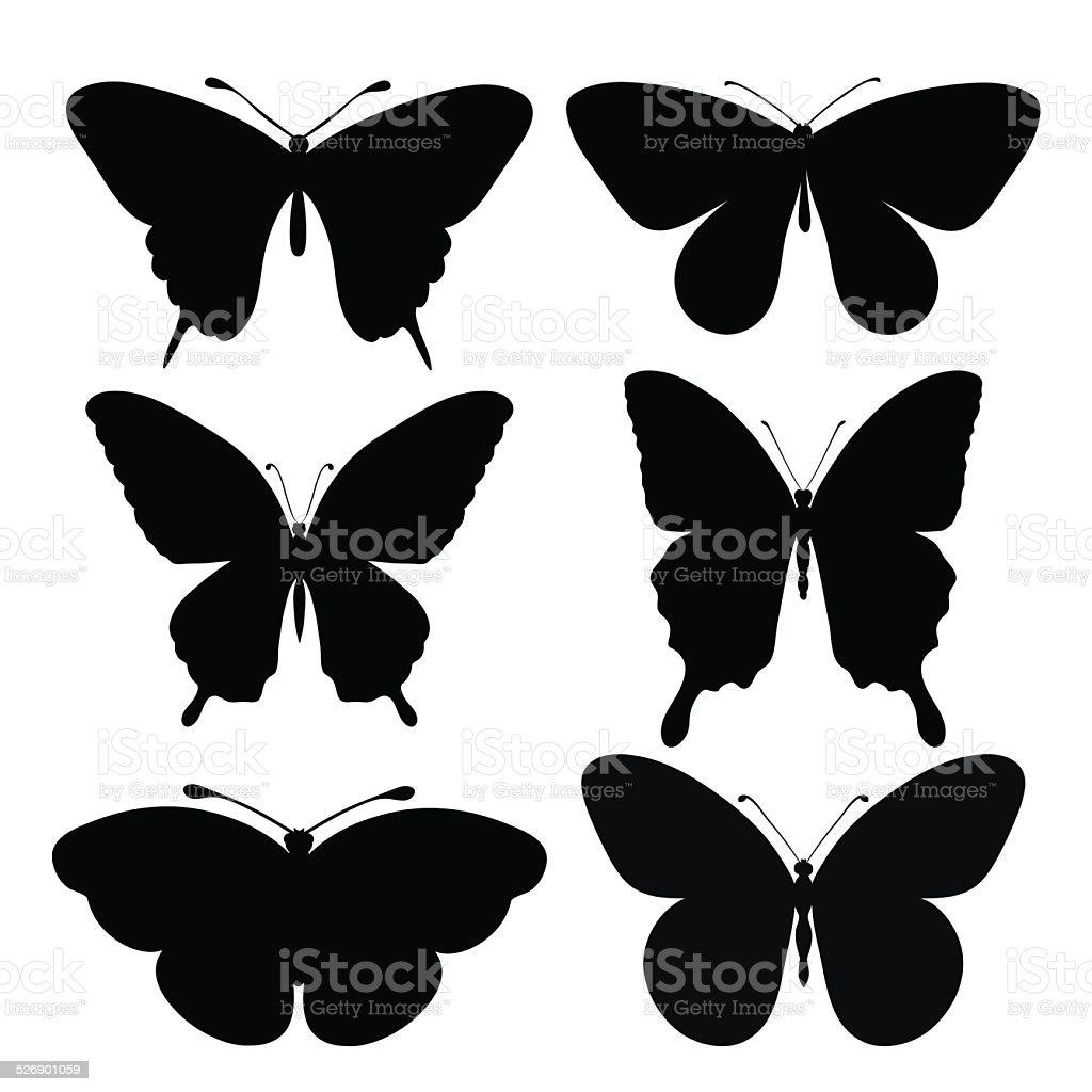 set of black silhouettes of butterflies stock vector art 526901059