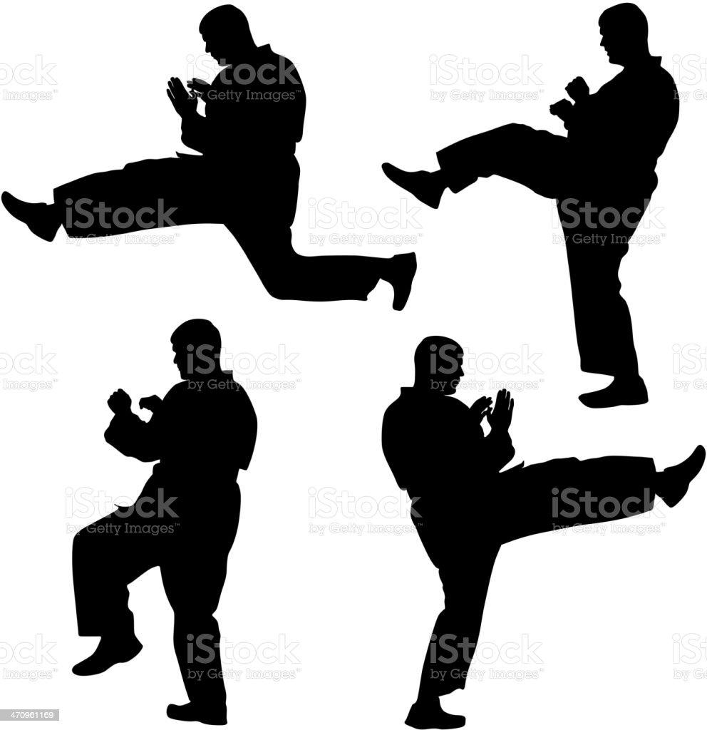 Set of black silhouettes of karate. Sport vector illustration. royalty-free stock vector art