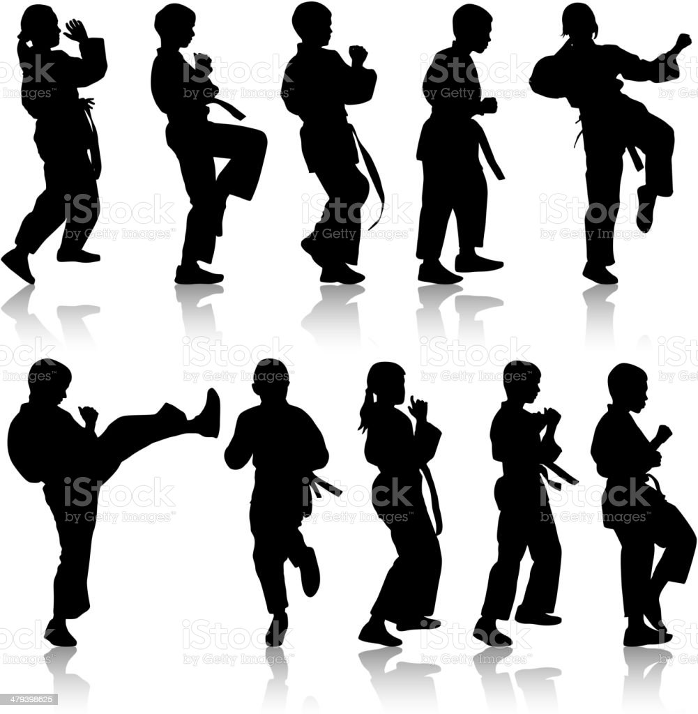 Set of black silhouettes of karate. vector art illustration