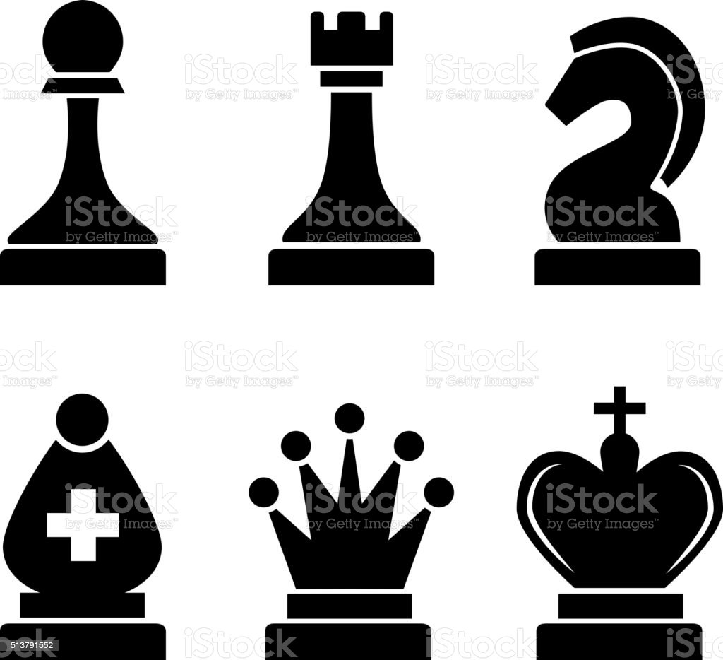 Set Of Black Simple Chess Icons On White Stock Vector Art ...