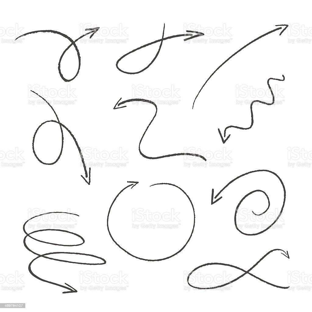 Ensemble de croquis de flèches noir - Illustration vectorielle