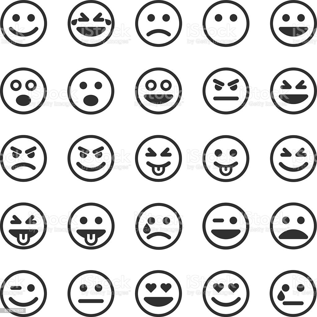 Set of black smileys vector art illustration
