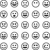 Set of black smileys