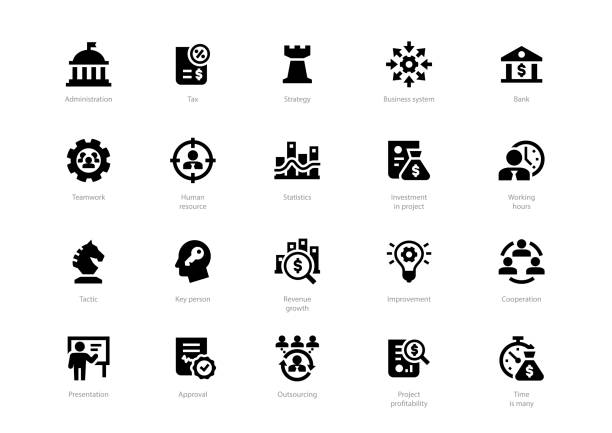Set of black solid business icons Set of black solid business icons isolated on light background. Contains such icons Administration, Tax, Strategy, Cooperation, Teamwork and more. place of worship stock illustrations