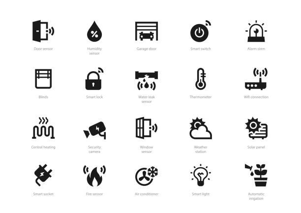 stockillustraties, clipart, cartoons en iconen met set van zwart effen smart home pictogrammen - alarm, home,