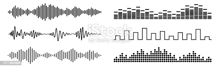 Set of black sound waves and audio scales. Abstract music wave, radio signal frequency and digital voice visualisation. Tune equalizer vector set. Monochrome volume audio lines, soundwaves rhythm isolated on white background