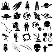 A set of black space-themed icons on white background