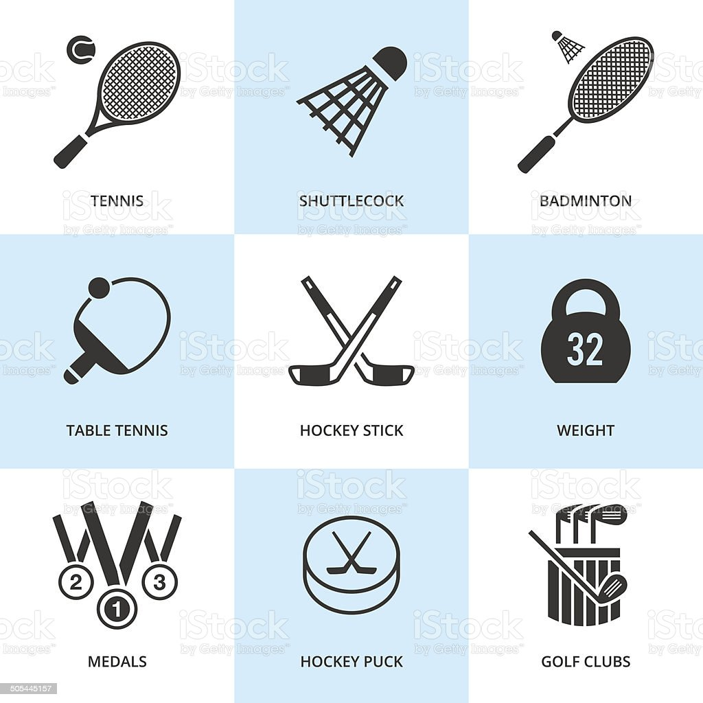 Set of black sports icons. vector art illustration