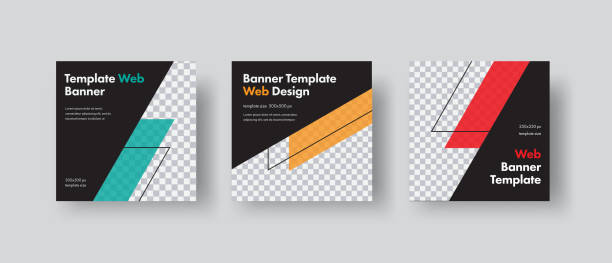 set of black square vector web for social networks with diagonal color elements and space for photo. - banner ads templates stock illustrations