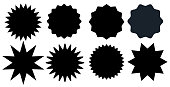 Set of black starburst stamps on white background. Badges and labels various shapes.  Vector illustration