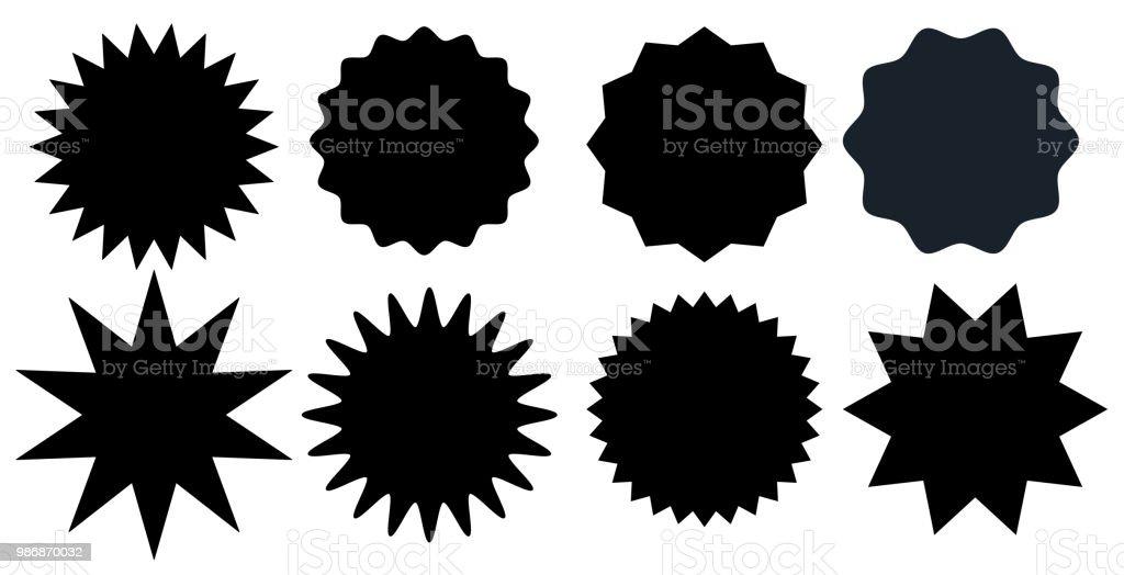 Série de timbres de starburst noir sur fond blanc. Badges et étiquettes différentes formes.  Illustration vectorielle - Illustration vectorielle
