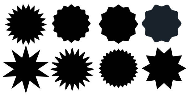 illustrazioni stock, clip art, cartoni animati e icone di tendenza di set of black starburst stamps on white background. badges and labels various shapes.  vector illustration - stelle