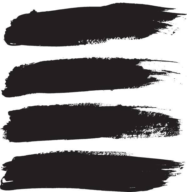 ilustrações, clipart, desenhos animados e ícones de conjunto de pincéis preto curso isolado no branco - texturas desgastadas
