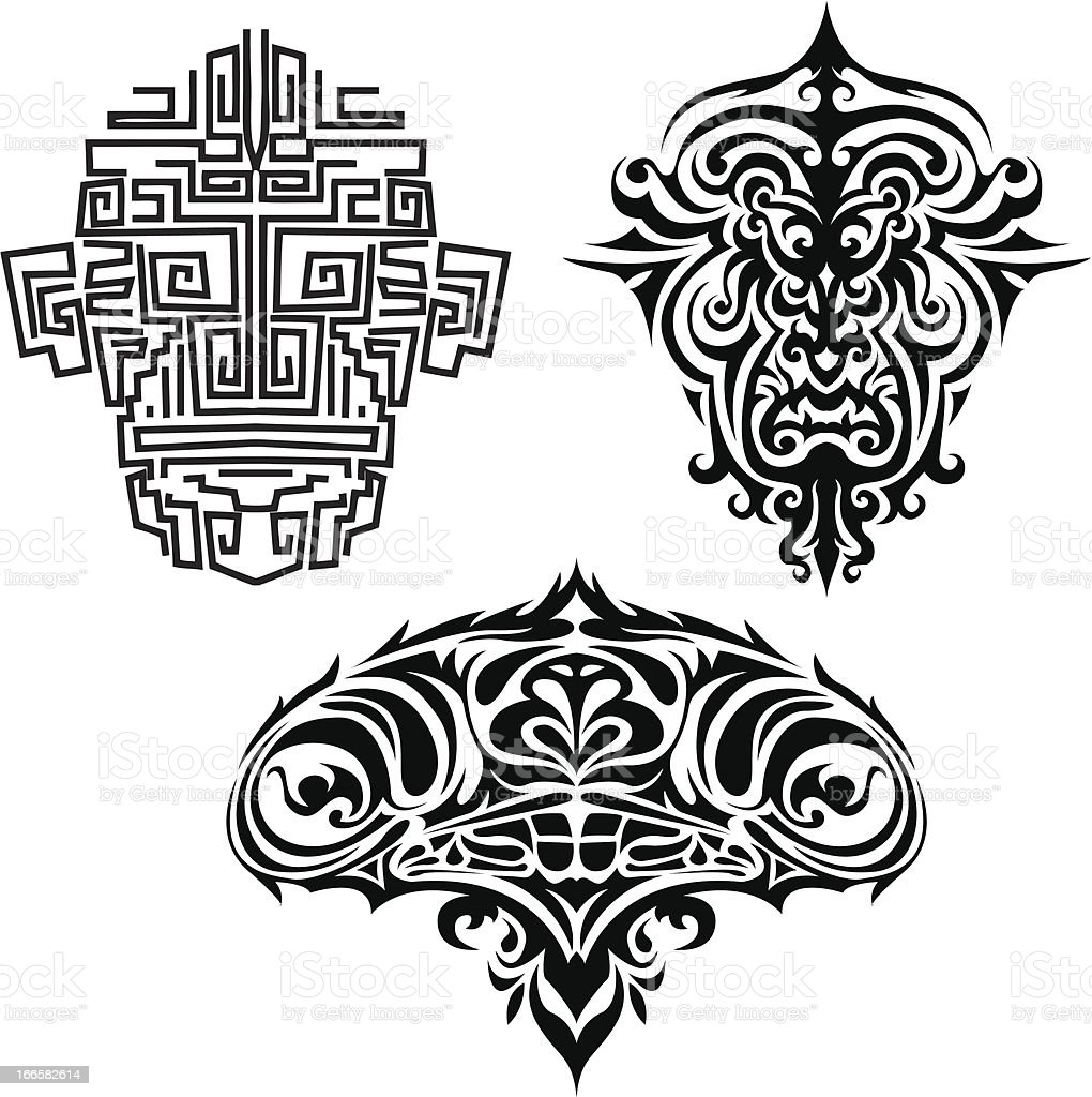 Set of black tattoo face royalty-free set of black tattoo face stock vector art & more images of abstract
